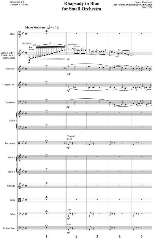Rhapsody in Blue Score